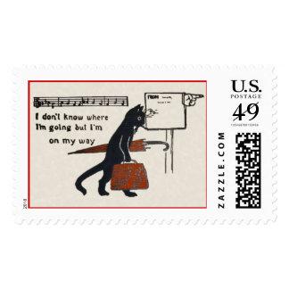 Sello grande del gato negro del vintage que viaja
