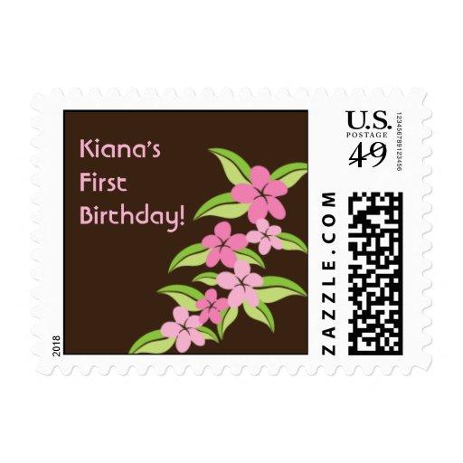 Sello hawaiano del cumpleaños del Plumeria