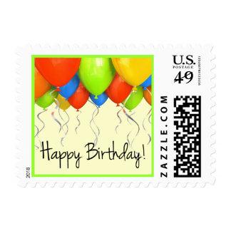 Sello hermoso del cumpleaños de los globos