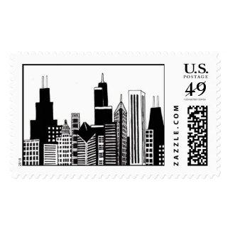 Sello ilustrado del horizonte de Chicago