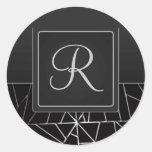 Sello inicial tabulado del sobre etiquetas redondas