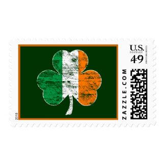 Sello irlandés del trébol de la bandera del vintag