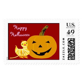 Sello lindo de Halloween: Anadón y linterna de