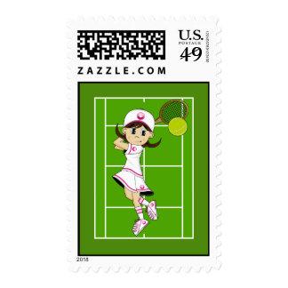 Sello lindo del chica del tenis