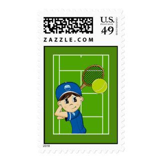 Sello lindo del muchacho del tenis