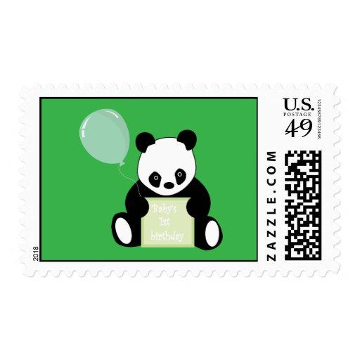 Sello lindo del oso de panda del 1r cumpleaños del