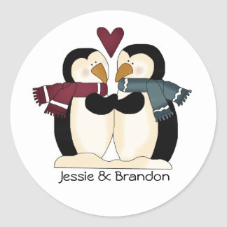 Sello lindo del sobre de los pingüinos del boda etiqueta redonda