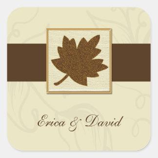 sello marrón del sobre pegatina cuadrada