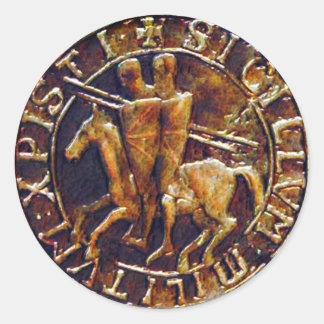 Sello medieval de los caballeros Templar Pegatina Redonda