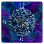 Sello medieval de los caballeros Templar Reloj De Pared