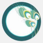 Sello moderno del sobre del boda del pavo real del etiquetas redondas