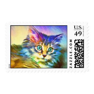 Sello multicolor del gato