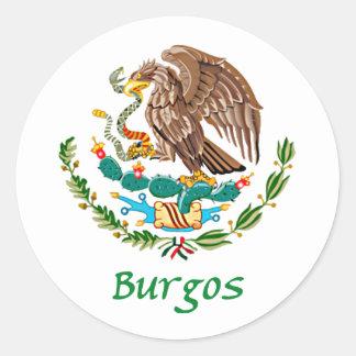 Sello nacional mexicano de Burgos Pegatina Redonda