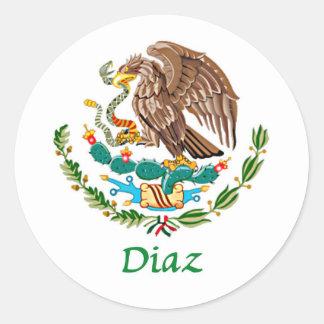 Sello nacional mexicano de Díaz Etiquetas Redondas
