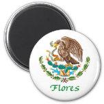 Sello nacional mexicano de Flores Imán Redondo 5 Cm