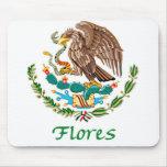 Sello nacional mexicano de Flores Mouse Pad