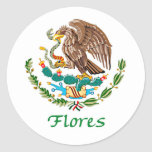 Sello nacional mexicano de Flores Pegatina Redonda