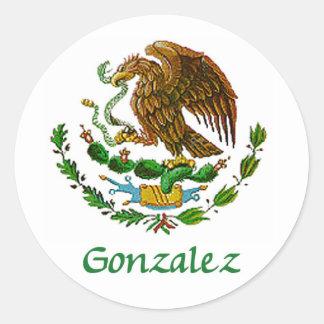Sello nacional mexicano de Gonzalez Pegatina Redonda