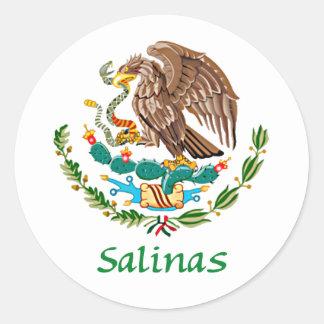 Sello nacional mexicano de las salinas pegatina redonda