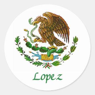 Sello nacional mexicano de López Pegatinas Redondas