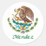 Sello nacional mexicano de Méndez Etiquetas Redondas