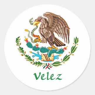 Sello nacional mexicano de Velez Pegatina Redonda
