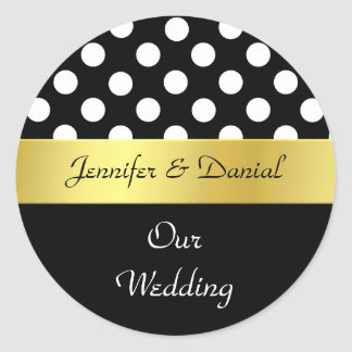 Sello negro, blanco, y del oro elegante del boda pegatina redonda