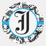 Sello negro del boda del ajuste del Aquamarine del Pegatina Redonda