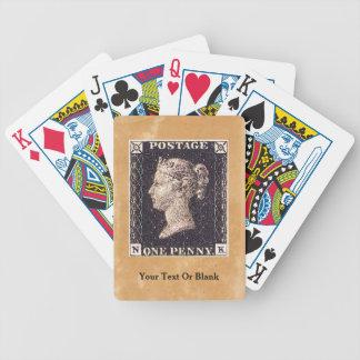Sello negro del penique baraja de cartas