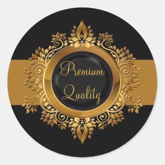 sello negro del sobre del monograma del oro pegatina redonda