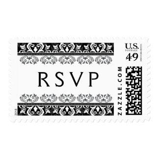 Sello negro elegante de RSVP del damasco del cordó