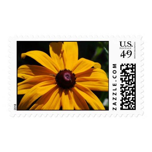 Sello negro y amarillo de la flor