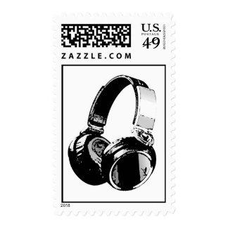 Sello negro y blanco del arte pop del auricular