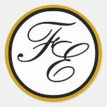 Sello negro y blanco del oro elegante del monogram pegatinas