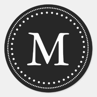 Sello negro y blanco del sobre del monograma pegatina redonda