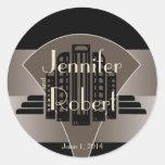 Sello negro y de bronce del sobre de la torre del etiquetas redondas