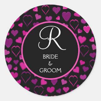 Sello negro y rosado del monograma del boda del di etiqueta