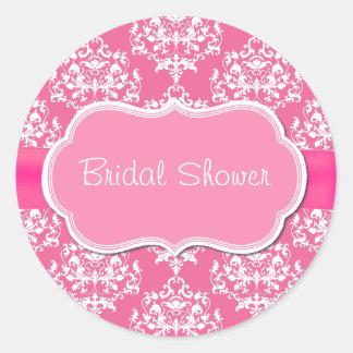 Sello nupcial rosado bonito del sobre de la ducha etiquetas