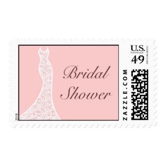 Sello nupcial rosado de encaje de la ducha