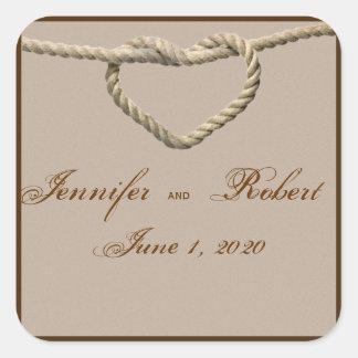 Sello occidental del sobre del boda del nudo de pegatina cuadrada