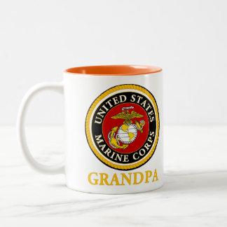 Sello oficial marino de los E.E.U.U. - abuelo Taza De Café De Dos Colores