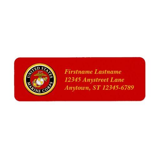 Sello oficial marino de los E.E.U.U. Etiqueta De Remite