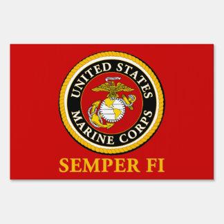 Sello oficial marino de los E.E.U.U. - Semper Fi Carteles