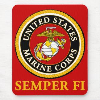 Sello oficial marino de los E.E.U.U. - Semper Fi Alfombrillas De Ratón