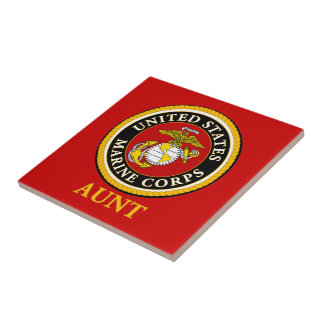 Sello oficial marino de los E.E.U.U. - tía Azulejo Cuadrado Pequeño