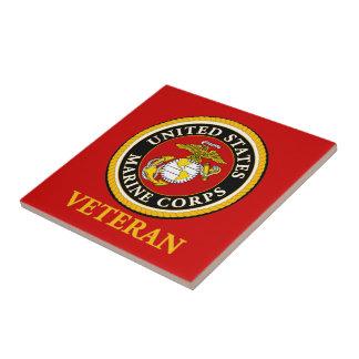 Sello oficial marino de los E.E.U.U. - veterano Azulejo Cuadrado Pequeño