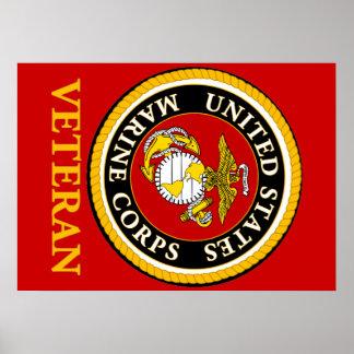 Sello oficial marino de los E.E.U.U. - veterano Póster
