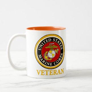 Sello oficial marino de los E.E.U.U. - veterano Taza De Café De Dos Colores