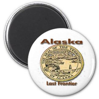 Sello pasado del estado de la frontera de Alaska Imán Redondo 5 Cm
