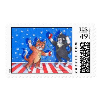 Sello patriótico de los gatos (brote y Tony)